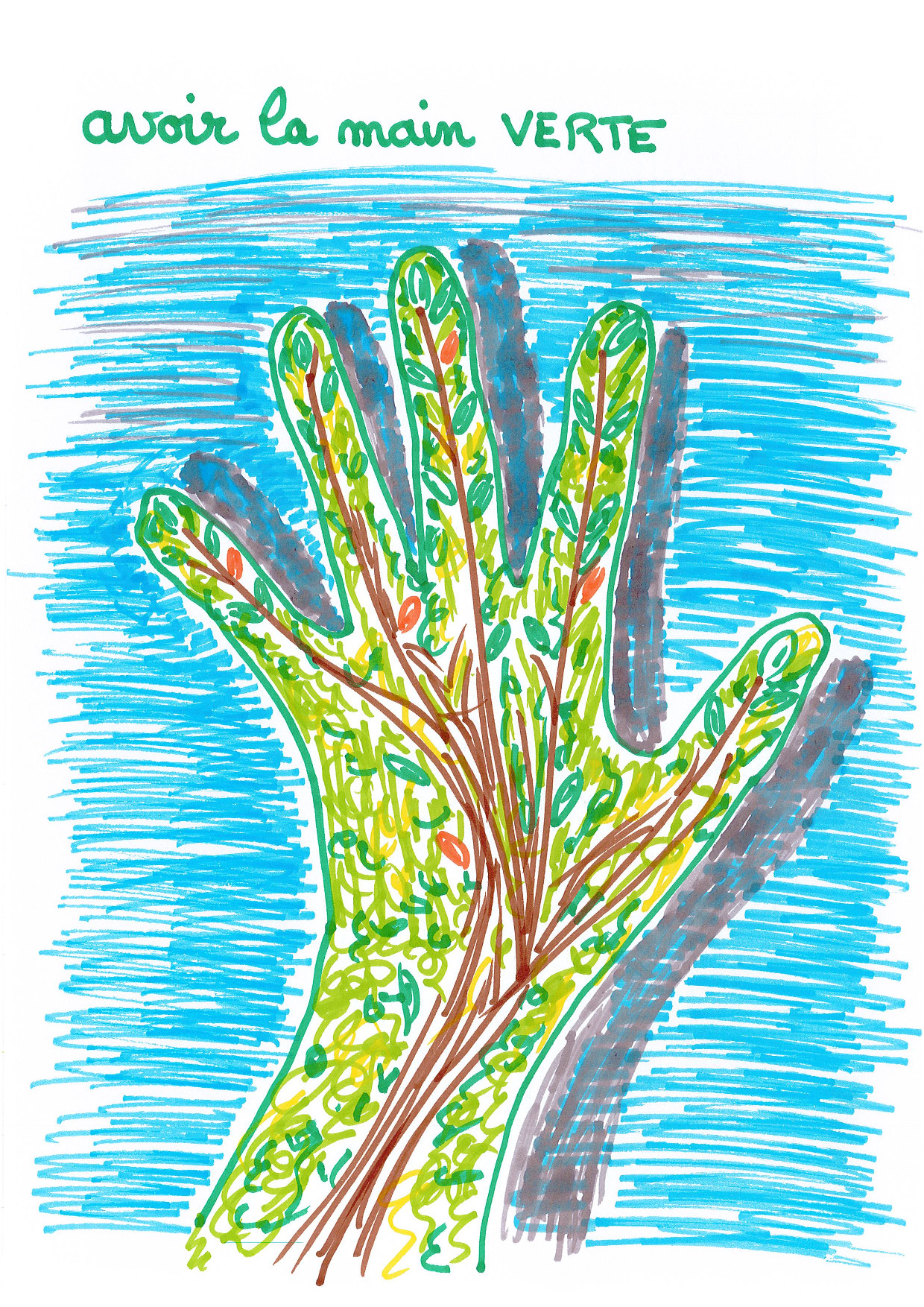 dessin main verte