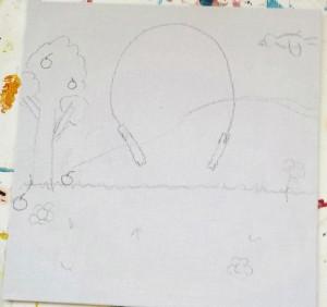 dessin crayon corde à sauter decor