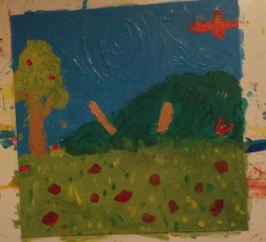 peinture arbre prairie