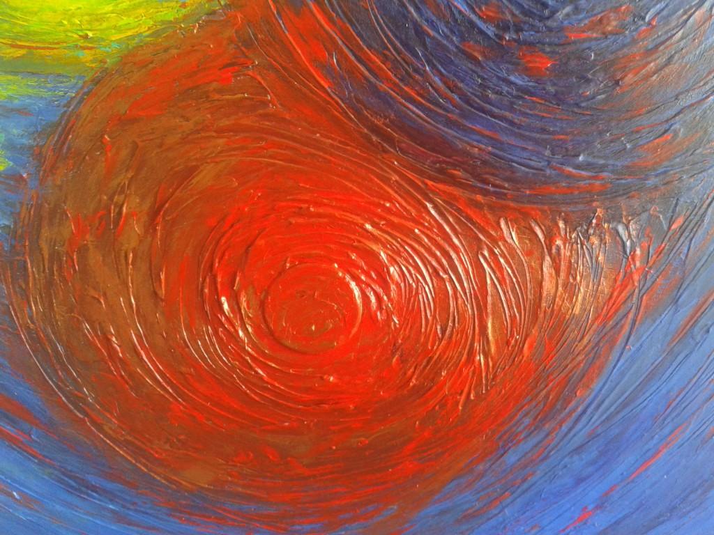 peinture cercle rouge relief