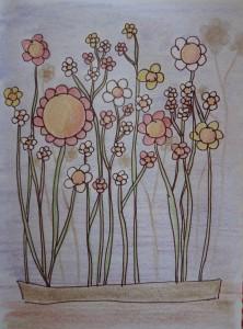 coloriage fleur colorié dessin