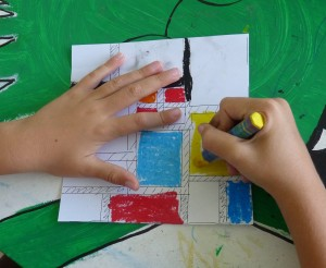 mondrian dessin enfant mains