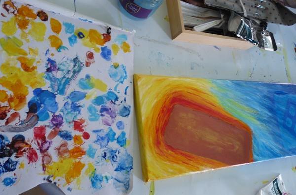 tableau pilule peinture palette
