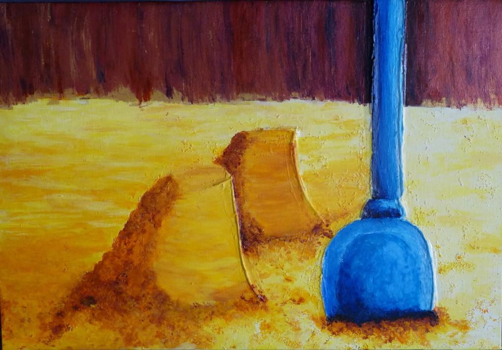 pelle sable plage tableau acrylique