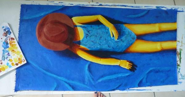 tableau fille maillot plage peinture