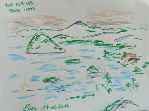 vue sur les trois ilets dessin martinique mer