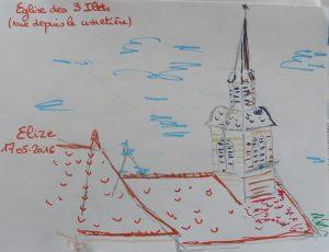 eglise toit urban sketch croquis feutre
