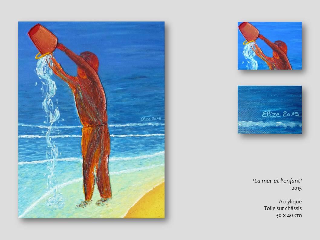 tableau la mer et l'enfant elize acrylique