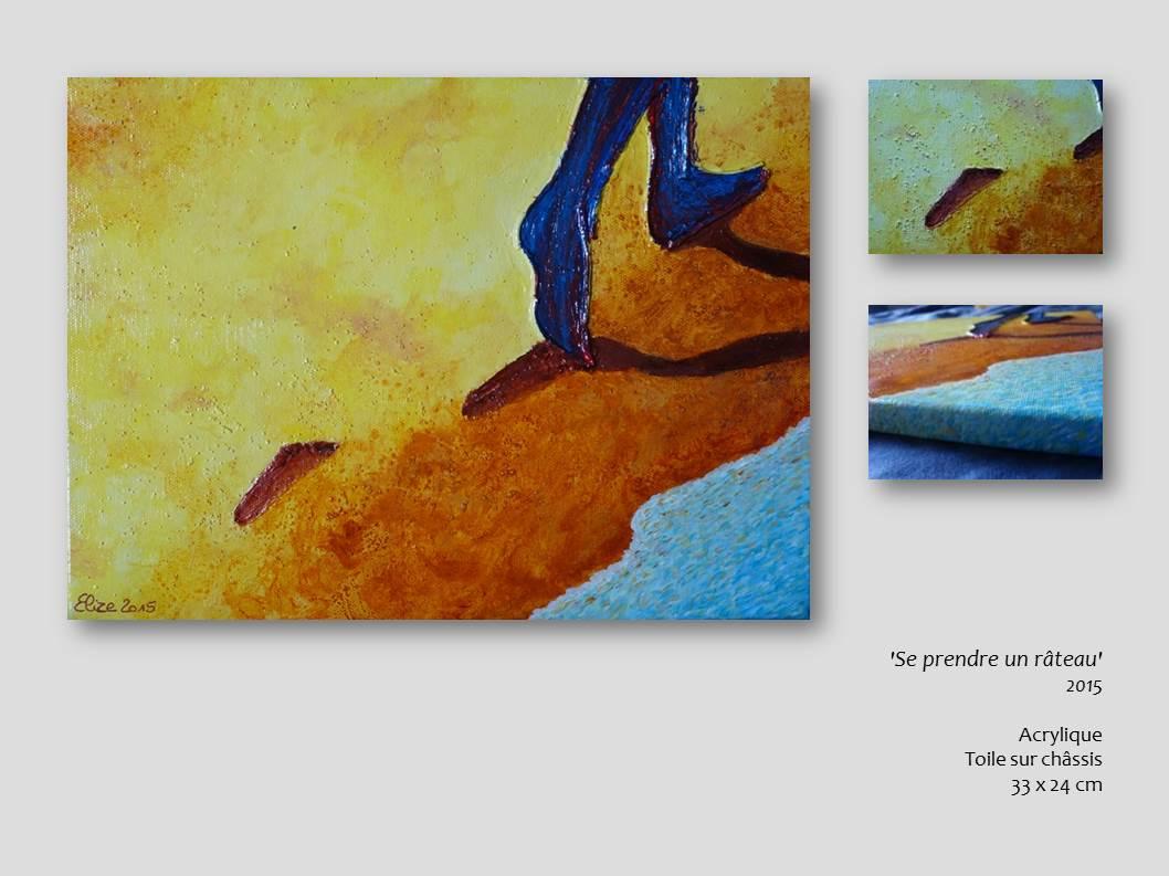 prendre un rateau tableau elize acrylique peinture pied sur la plage artistique artiste