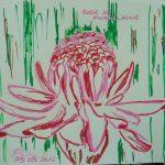 rose de porcelaine fleurs tropicales dessin rouge rose