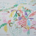 fruit à pain fleurs tropicales dessin multicolore