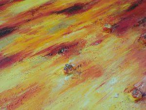 detail relief tableau rouge jaune brun