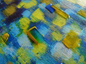 détail tableau mosaique bleu création créatif