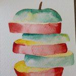 aquarelle pomme coupée en étage