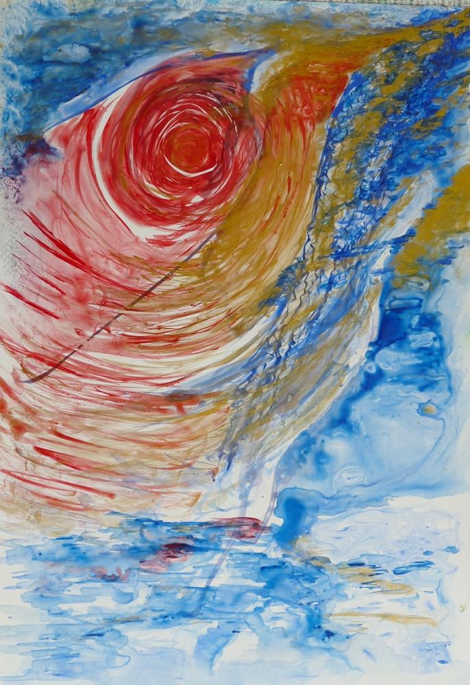 abstrait boule rouge aquarelle bleu doré peinture