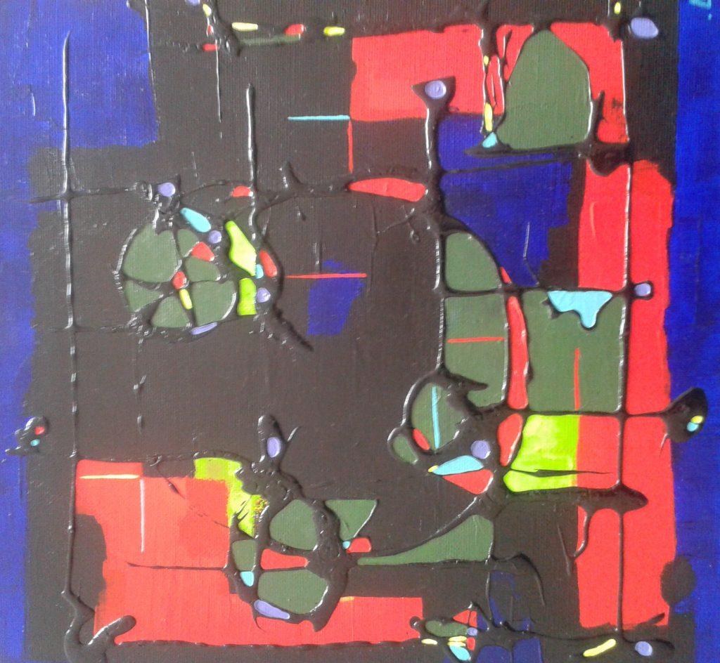 anais verspan tableau gkm peinture abstraite noir rouge