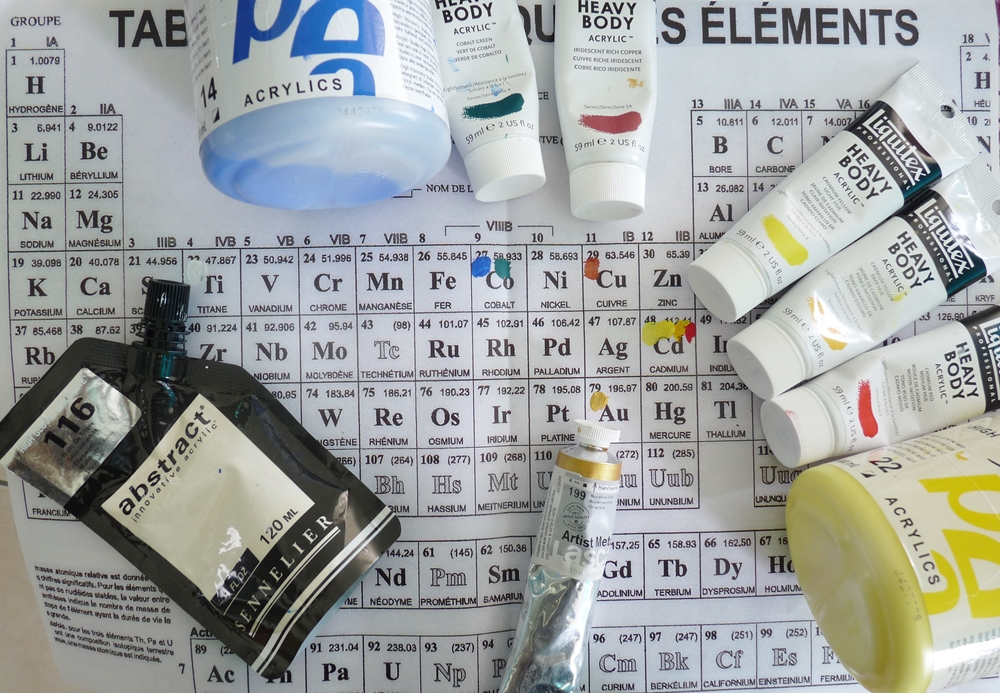 peinture tableau periodique couleur pigment cadmium cobalt