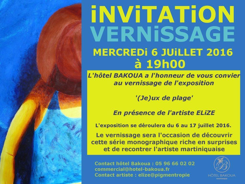 invitation au vernissage de l'exposition à l'hotel bakoua