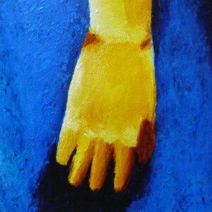 détail main tableau jaune