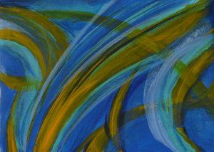 tableau abstrait bleu jaune elize