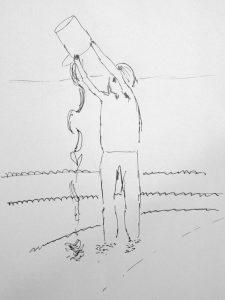 coloriage enfant jouant avec un seau sur la plage - mer