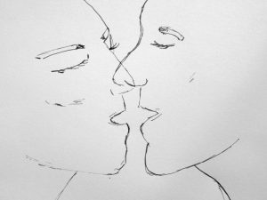 coloriage personnes s'embrassant - baiser