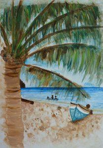 plage avec cocotier