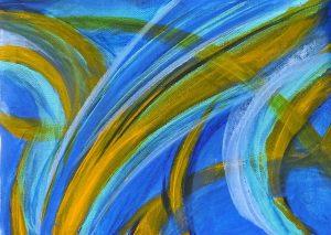 peinture abstrait bleu et jaune