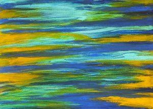 peinture abstrait bleu jaune horizontal