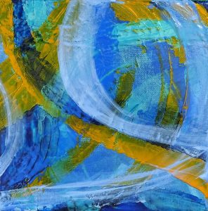 peinture abstrait bleu jaune