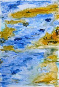 peinture abstrait bleu jaune reflet