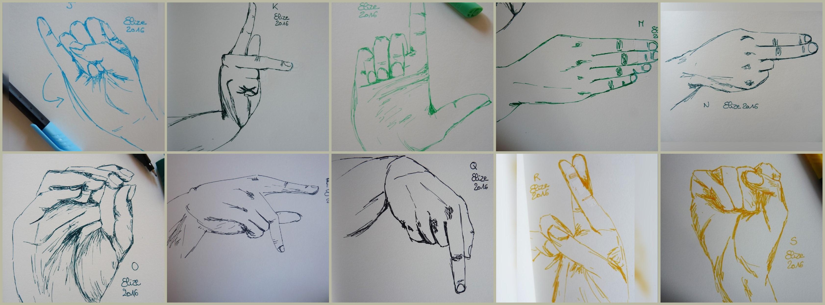 L 39 alphabet en langue des signes 26 dessins de main - Main en dessin ...