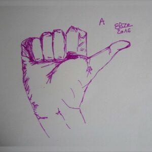 A alphabet en langue des signes francaise dessin main feutre stylo elize