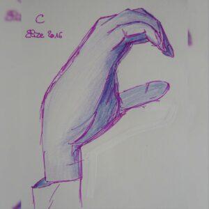C alphabet en langue des signes francaise dessin main feutre stylo elize