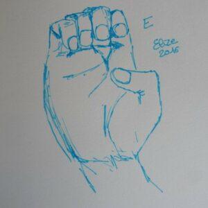 E alphabet en langue des signes francaise dessin main feutre stylo elize