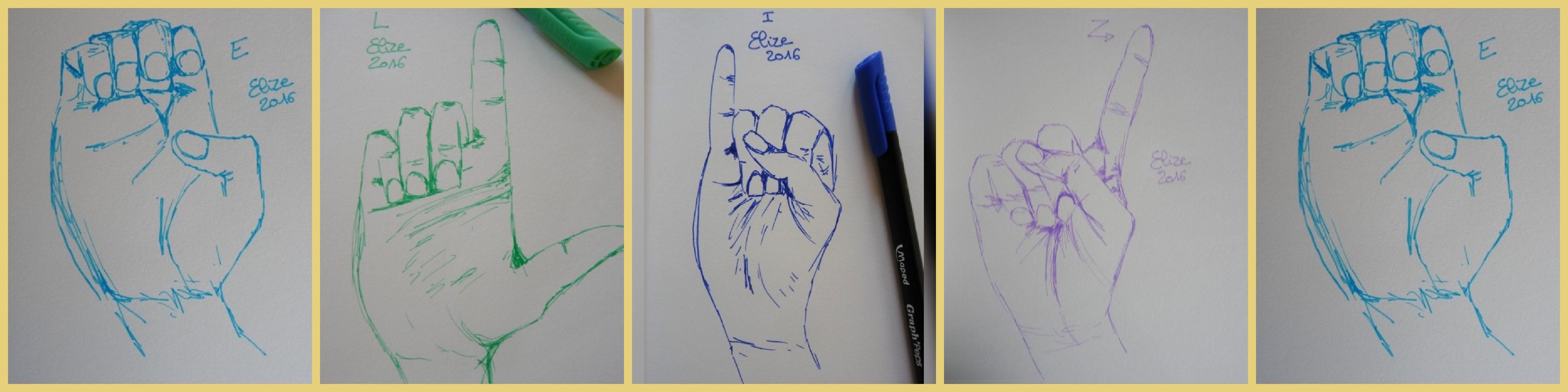 alphabet en langue des signes francaise dessin main feutre stylo elize