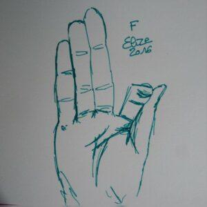 F alphabet en langue des signes francaise dessin main feutre stylo elize