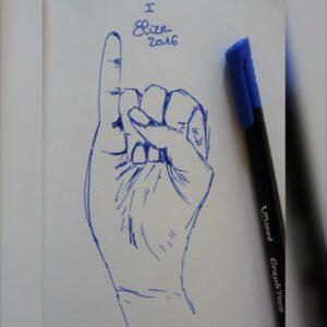 I alphabet en langue des signes francaise dessin main feutre stylo elize