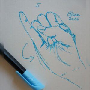 J alphabet en langue des signes francaise dessin main feutre stylo elize