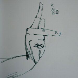 K alphabet en langue des signes francaise dessin main feutre stylo elize