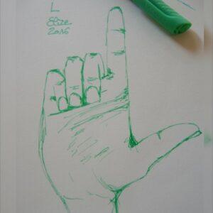 L alphabet en langue des signes francaise dessin main feutre stylo elize