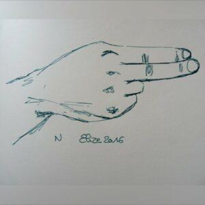 N alphabet en langue des signes francaise dessin main feutre stylo elize