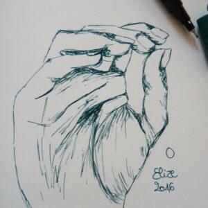 O alphabet en langue des signes francaise dessin main feutre stylo elize