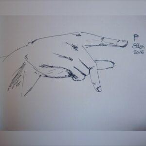 P alphabet en langue des signes francaise dessin main feutre stylo elize