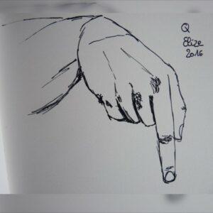 Q alphabet en langue des signes francaise dessin main feutre stylo elize