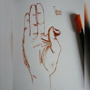 T alphabet en langue des signes francaise dessin main feutre stylo elize