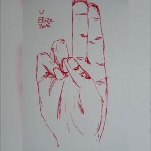 U alphabet en langue des signes francaise dessin main feutre stylo elize