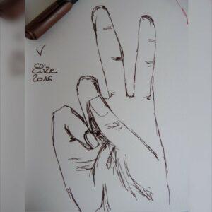 V alphabet en langue des signes francaise dessin main feutre stylo elize lettre