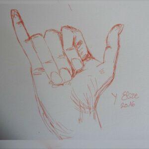 Y alphabet en langue des signes francaise dessin main feutre stylo elize lettre