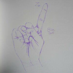 Z alphabet en langue des signes francaise dessin main feutre stylo elize lettre